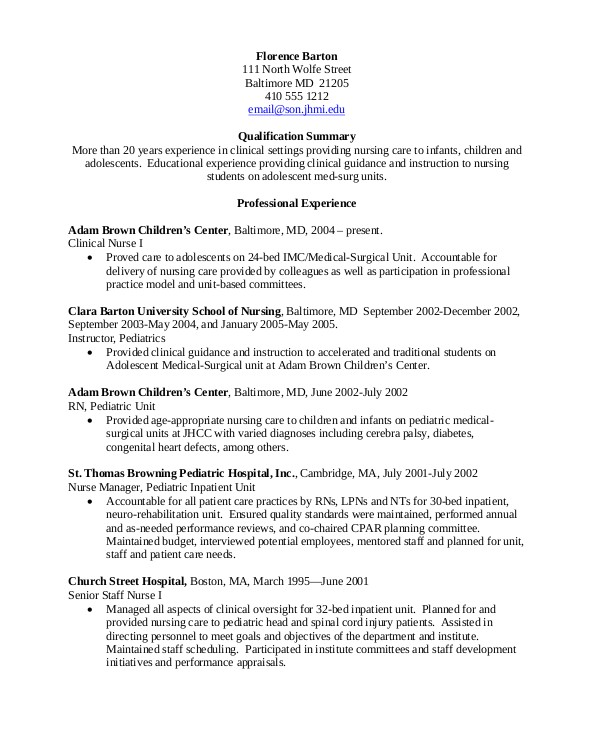 Experienced Rn Resume Templates 10 Sample Nursing Resumes Sample Templates