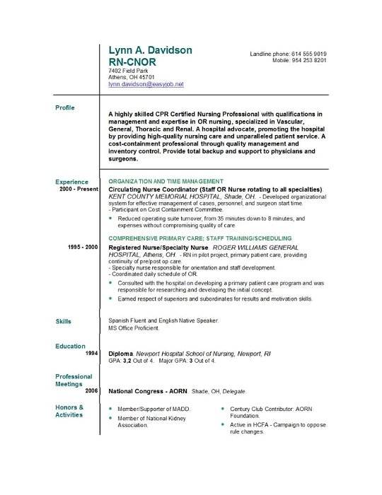 experienced nurse resume