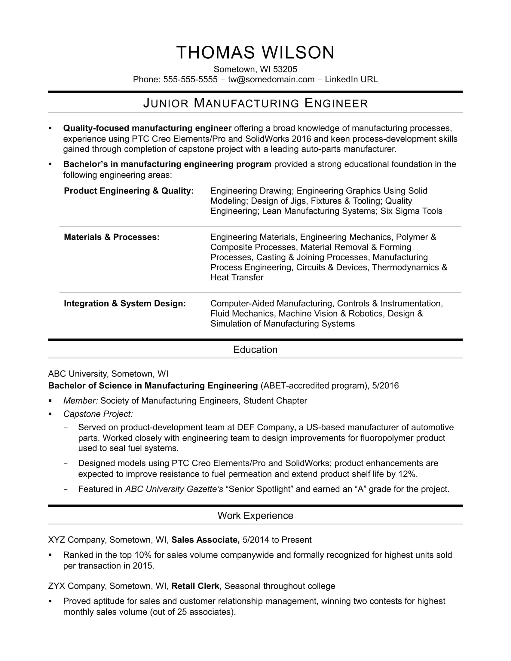 Fabrication Engineer Resume Sample Sample Resume for An Entry Level Manufacturing Engineer