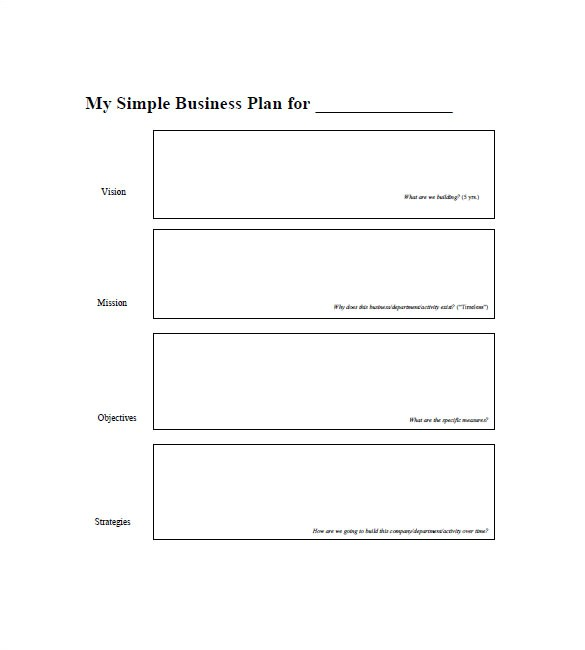 Fill In the Blank Business Plan Template Free Simple Business Plan Template 20 Free Sample Example