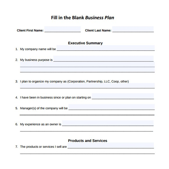 Fill In the Blanks Business Plan Template Pdf 16 Sample Small Business Plans Sample Templates