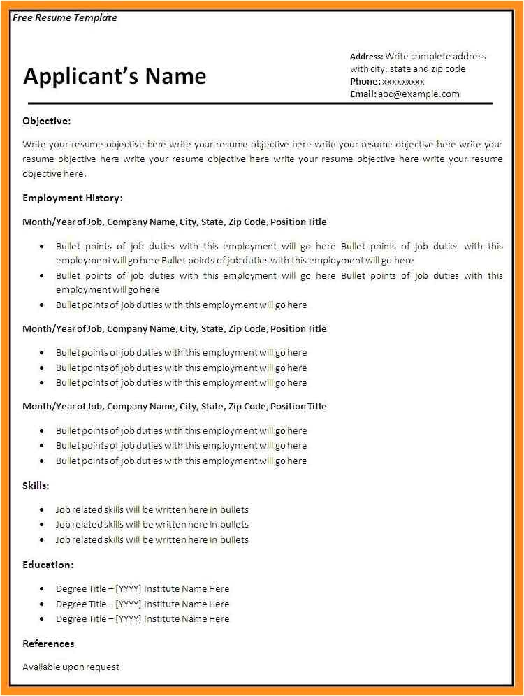 Fillable Resume Template Fillable Resume Template 40 Blank Templates Free Samples