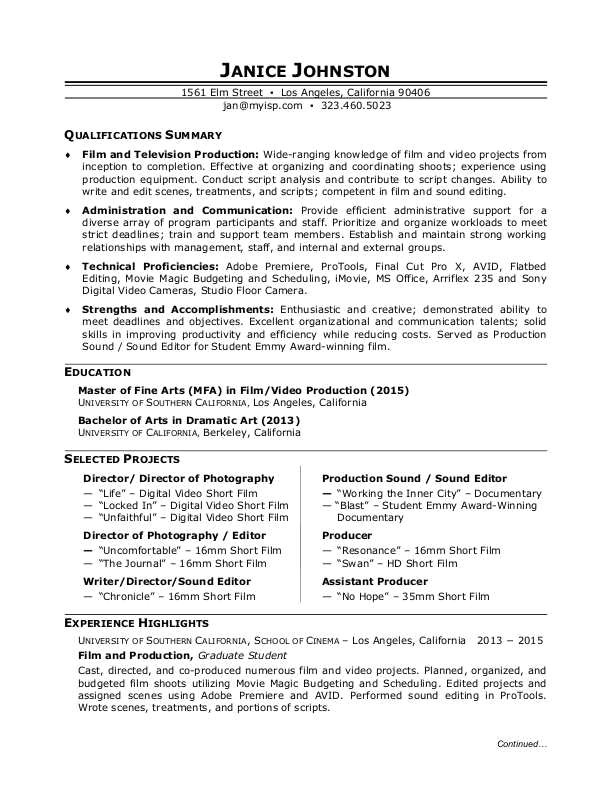sample resume film production