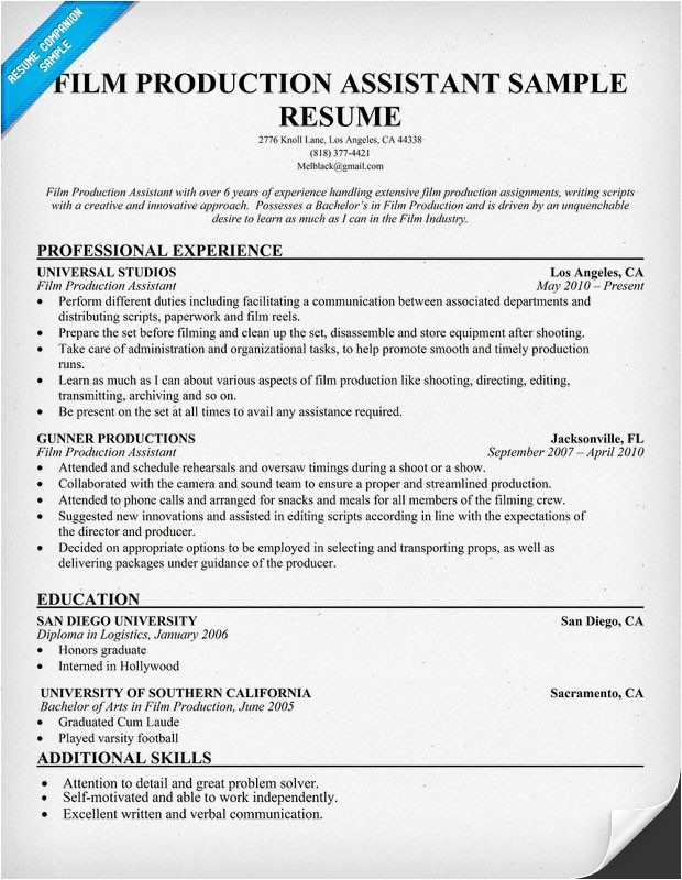 film production resume template