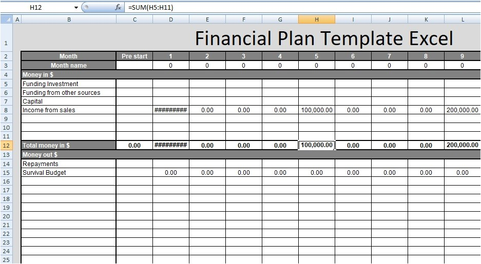 Financial Proposal Template Excel Financial Plan Template Excel Free Spreadsheettemple