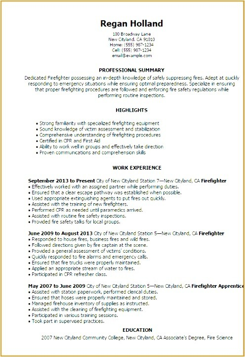fire captain resume example 95219b