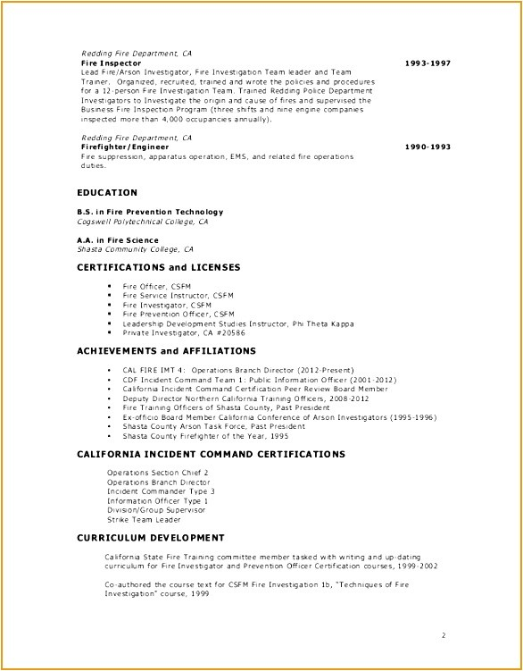 Fire Captain Resume Sample 9 Fire Captain Resume Example Free Samples Examples