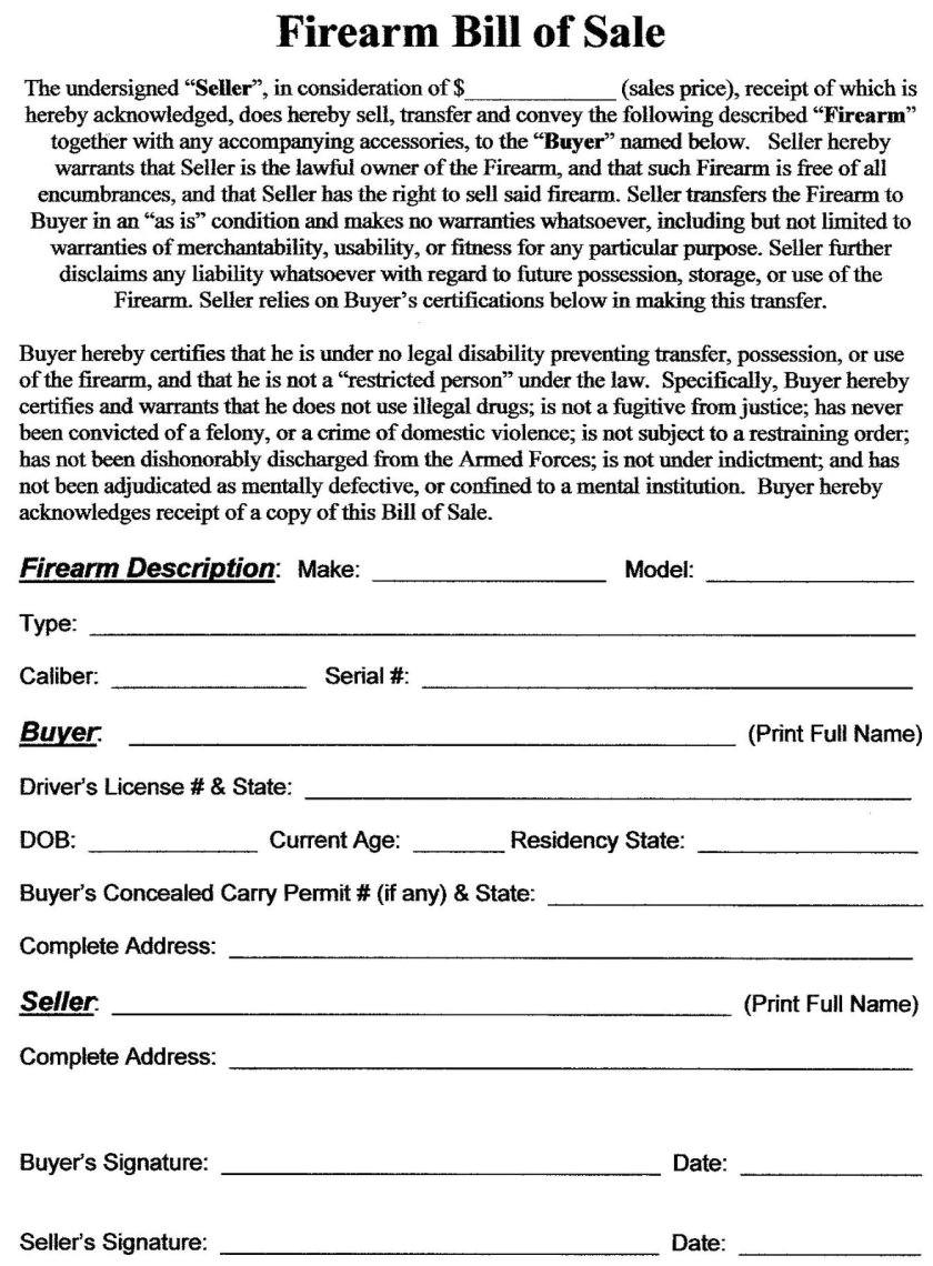Firearms Business Plan Template Gun Bill Of Sale Template Business Templates Fi