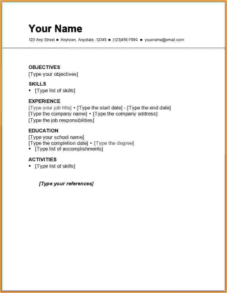 6 first resume template