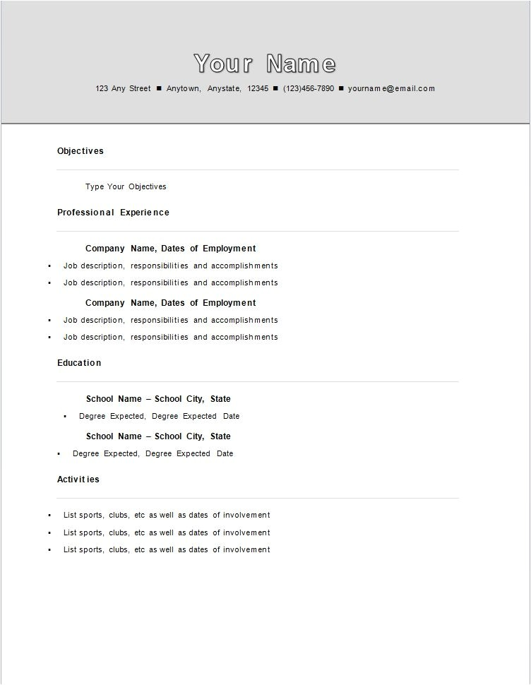 First Resume Templates Sample College Student Resume No Work Experience Sample