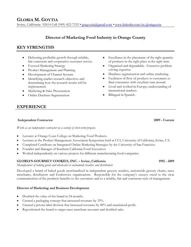food industry resume