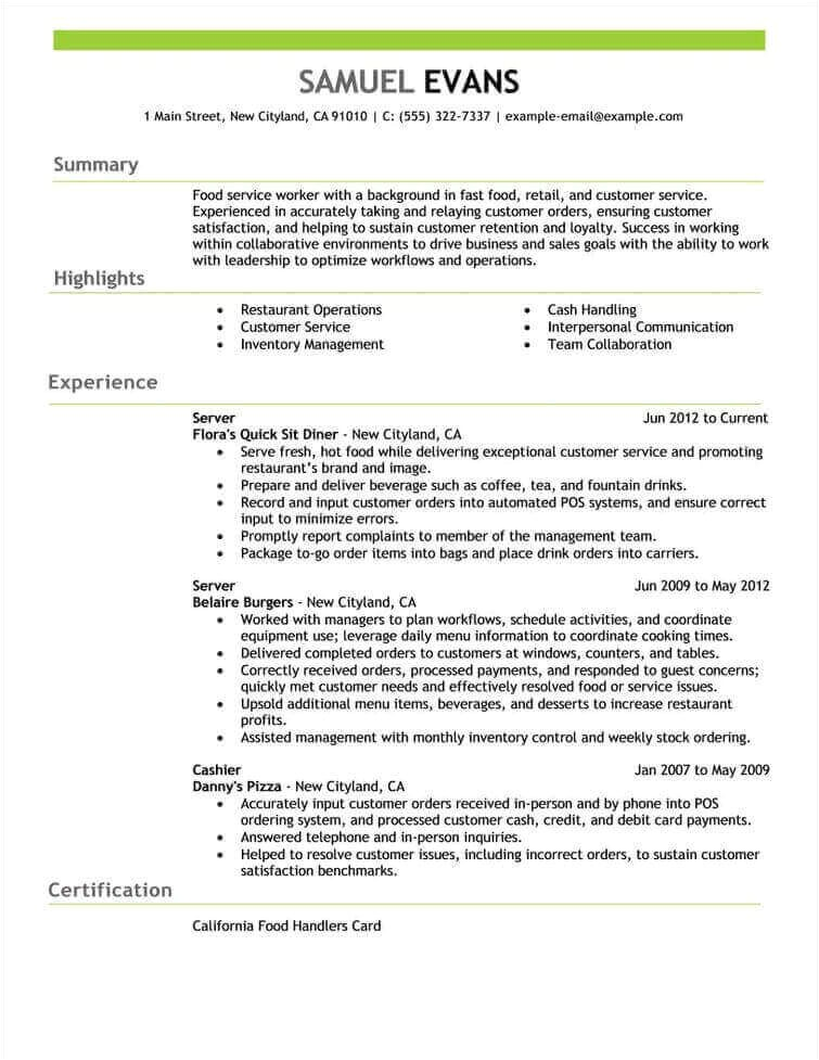Food Industry Resume Templates Free Resume Examples by Industry Job Title Livecareer
