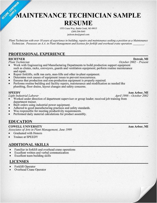 forklift mechanic resume template