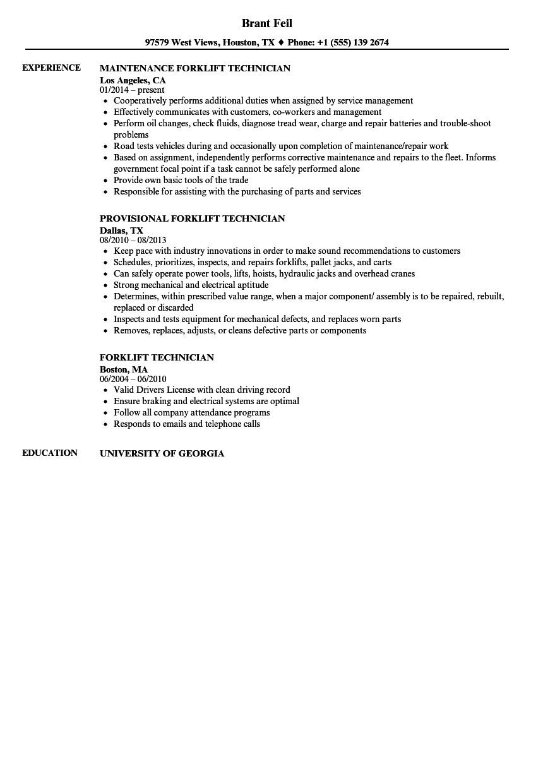 forklift technician resume sample