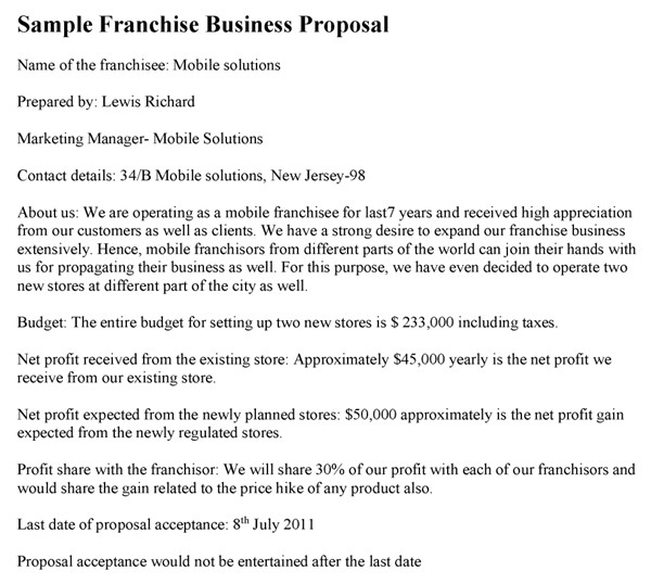 Franchise Proposal Template Franchise Business Proposal Template