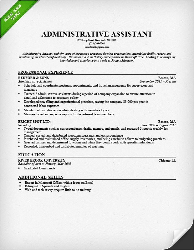 Free Administrative assistant Resume Templates Administrative assistant Resume Sample Resume Genius
