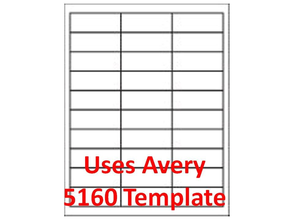 Free Avery Label Templates 5160 3000 Laser Ink Jet Labels 1 Quot X 2 5 8 Quot 30up Address