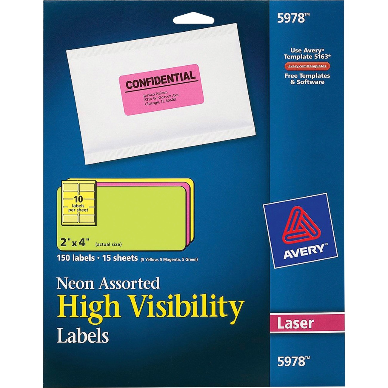 avery neon rectangular labels for laser and or inkjet printers 5978