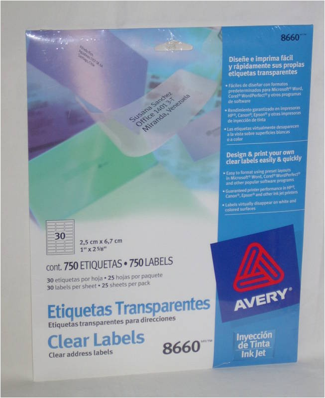 Free Avery Label Templates 8660 Avery 8660 750 Clear Address Labels 1 Quot X 2 5 8 Quot New with