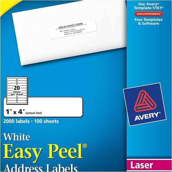 avery easy peel white address labels 5161
