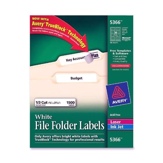 avery white file folder label