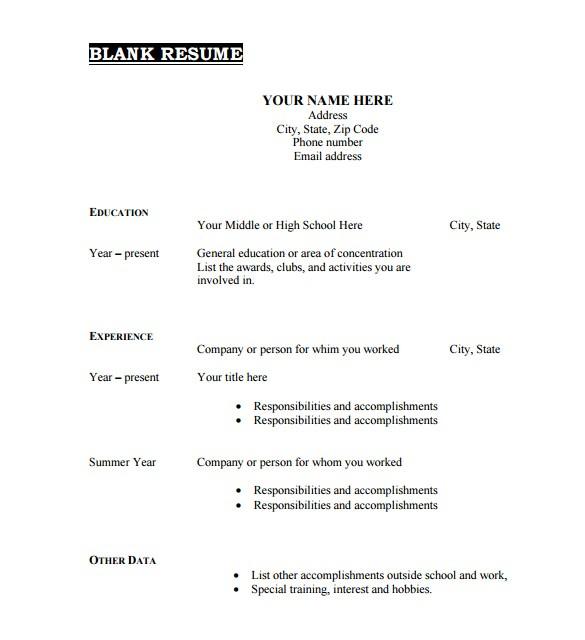 Free Blank Resume Template 46 Blank Resume Templates Doc Pdf Free Premium