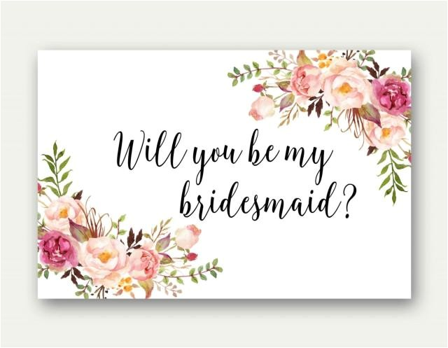 Free Bridesmaid Proposal Template Will You Be My Bridesmaid Printable Bridesmaid Card