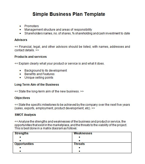 Free Business Plan Template Word format 21 Simple Business Plan Templates Sample Templates