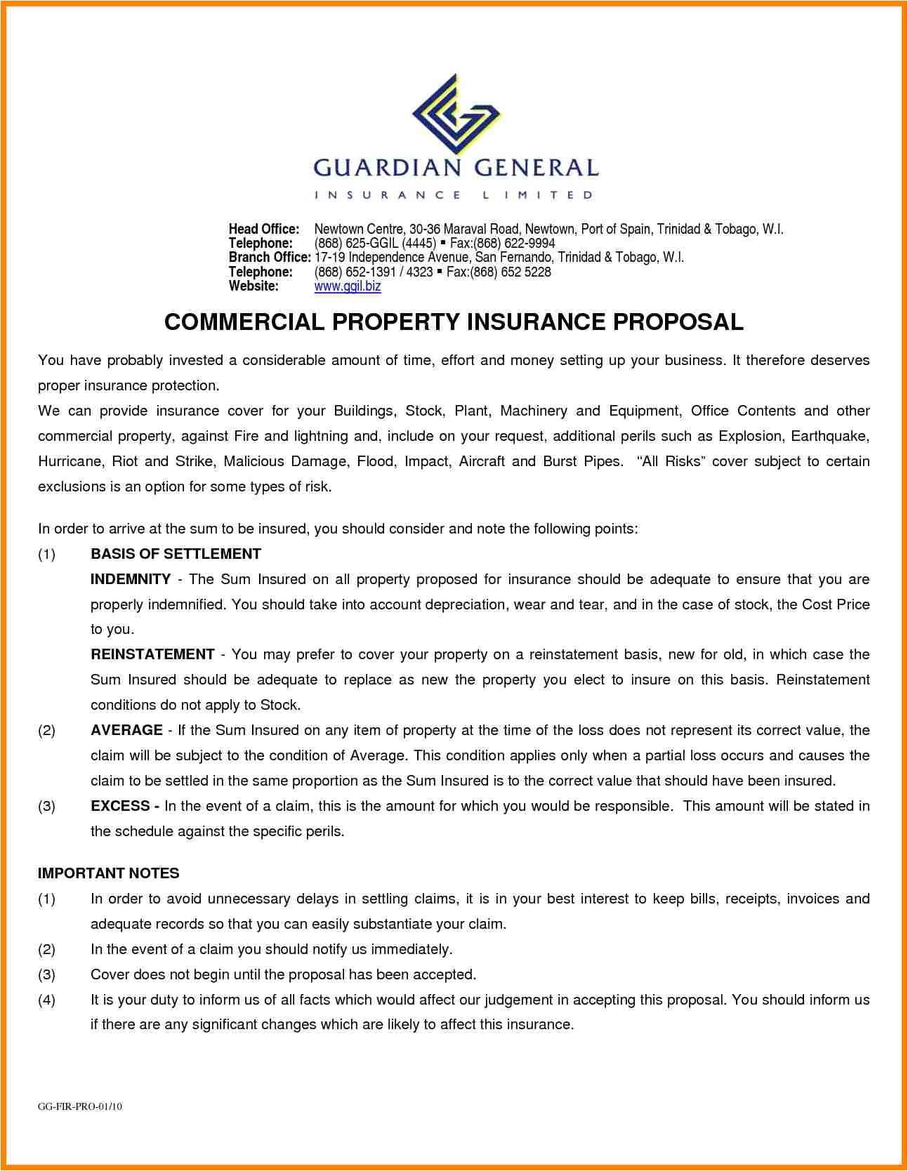 commercial insurance proposal