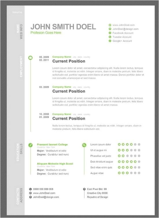 free creative resume cv templates