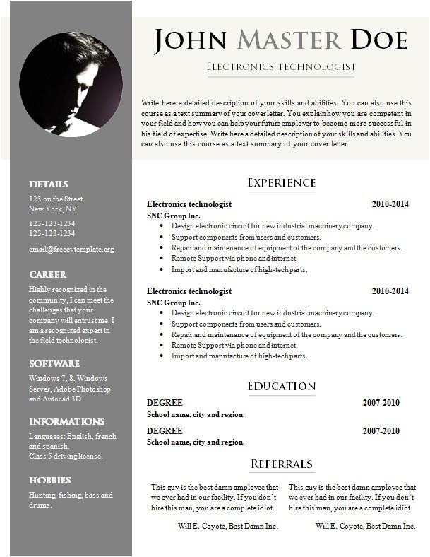 Free Doc Resume Templates Free Cv Template 681 687 Free Cv Template Dot org
