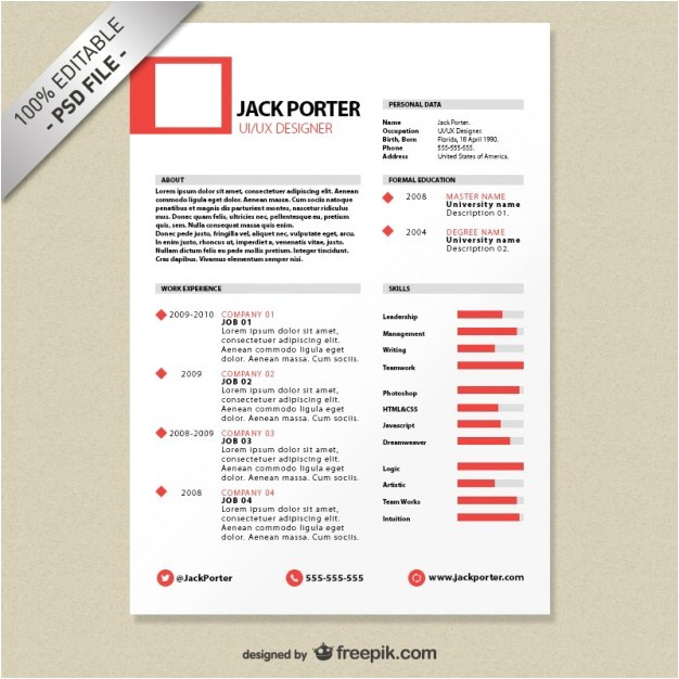 Free Download Creative Resume Templates Creative Resume Template Download Free Psd File Free