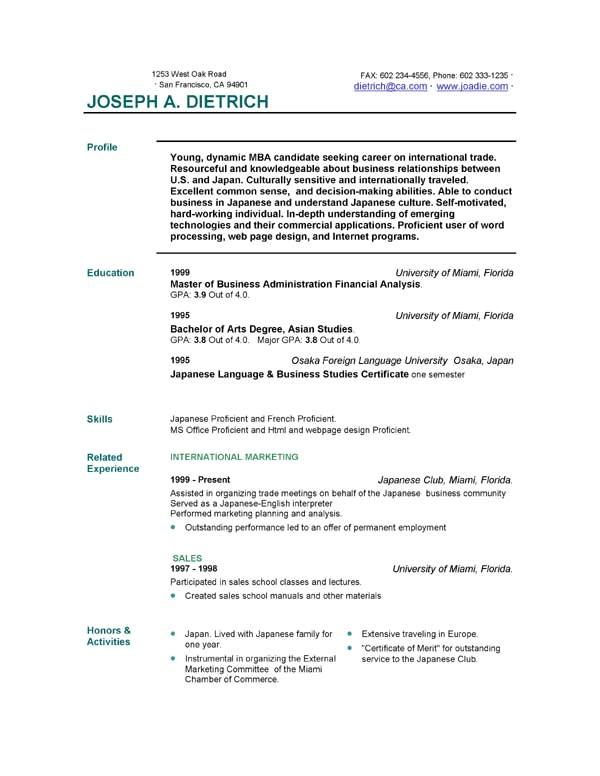 free resumes templates