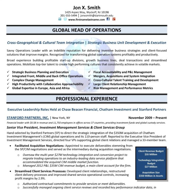 Free Executive Resume Templates 24 Best Sample Executive Resume Templates Wisestep