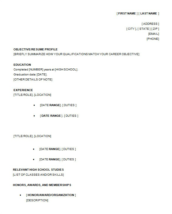 Free High School Resume Templates 13 High School Resume Templates Pdf Doc Free