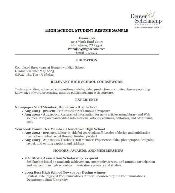high school work resume