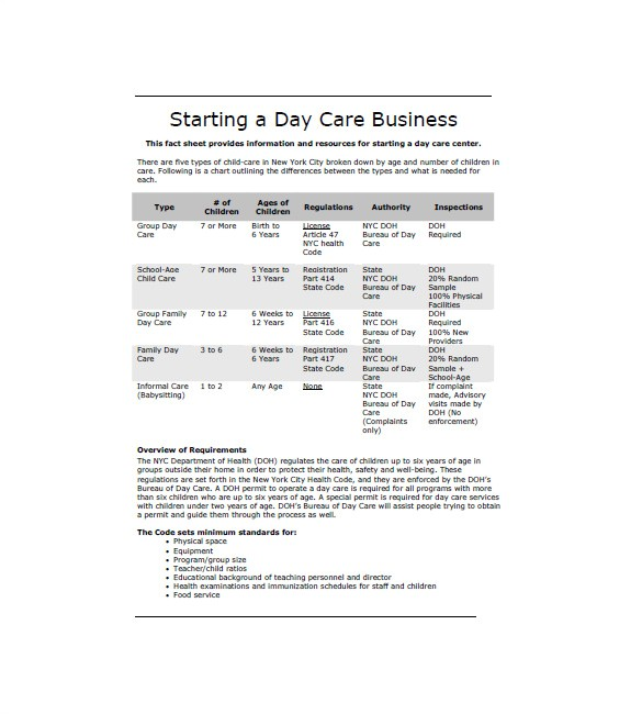 free home daycare business plan sample
