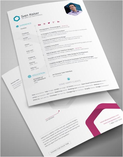 8 sets of free indesign cvresume templates