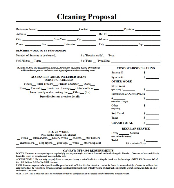 Free Janitorial Proposal Template 13 Cleaning Proposal Templates Pdf Word Apple Pages