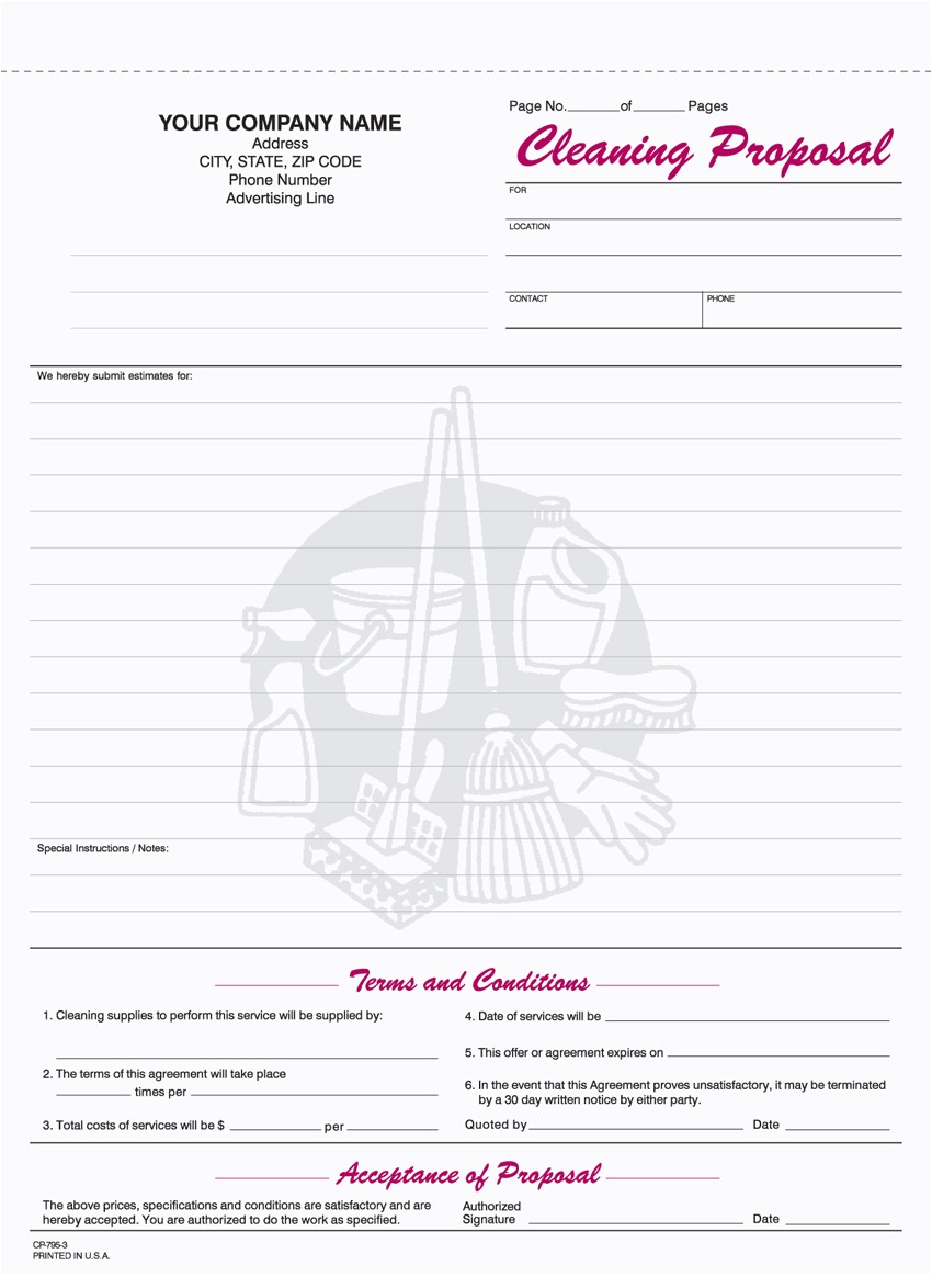 Free Janitorial Proposal Template 9 Best Images Of Free Printable Cleaning Business forms