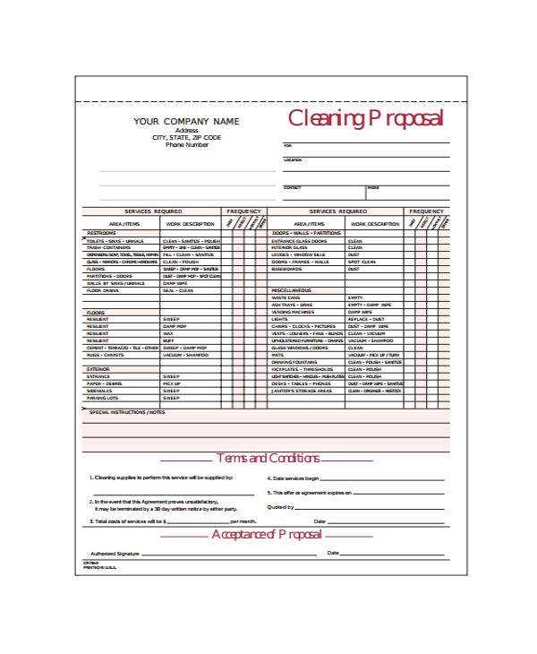 Free Janitorial Proposal Template Cleaning Proposal Template 12 Free Word Pdf Document