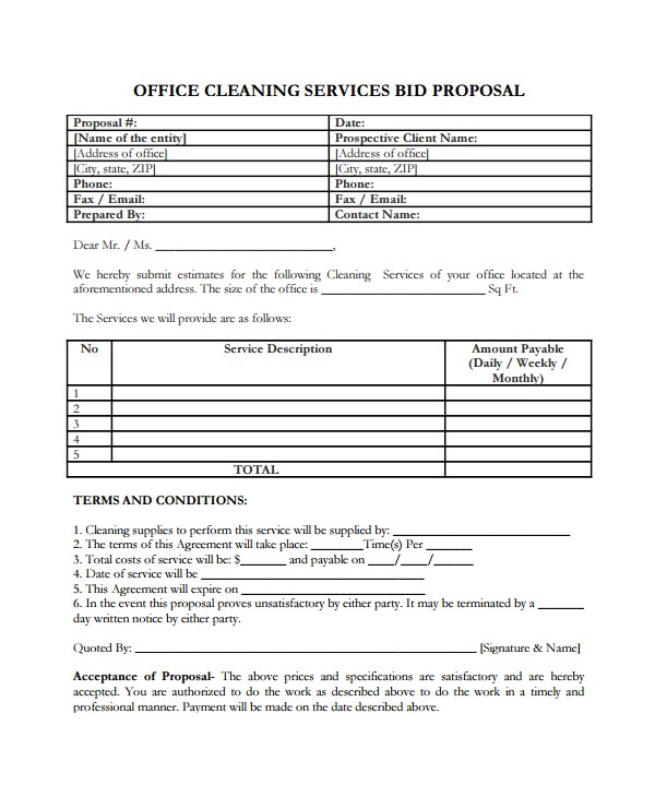 Free Janitorial Proposal Template Service Proposal Template 14 Free Word Pdf Document