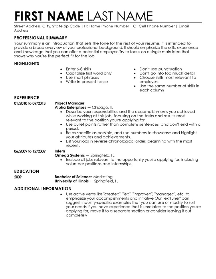 Free Job Specific Resume Templates Free Resume Templates Fast Easy Livecareer