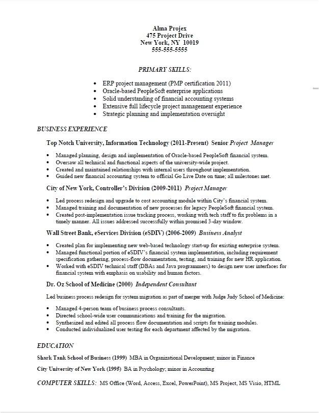 job specific resume