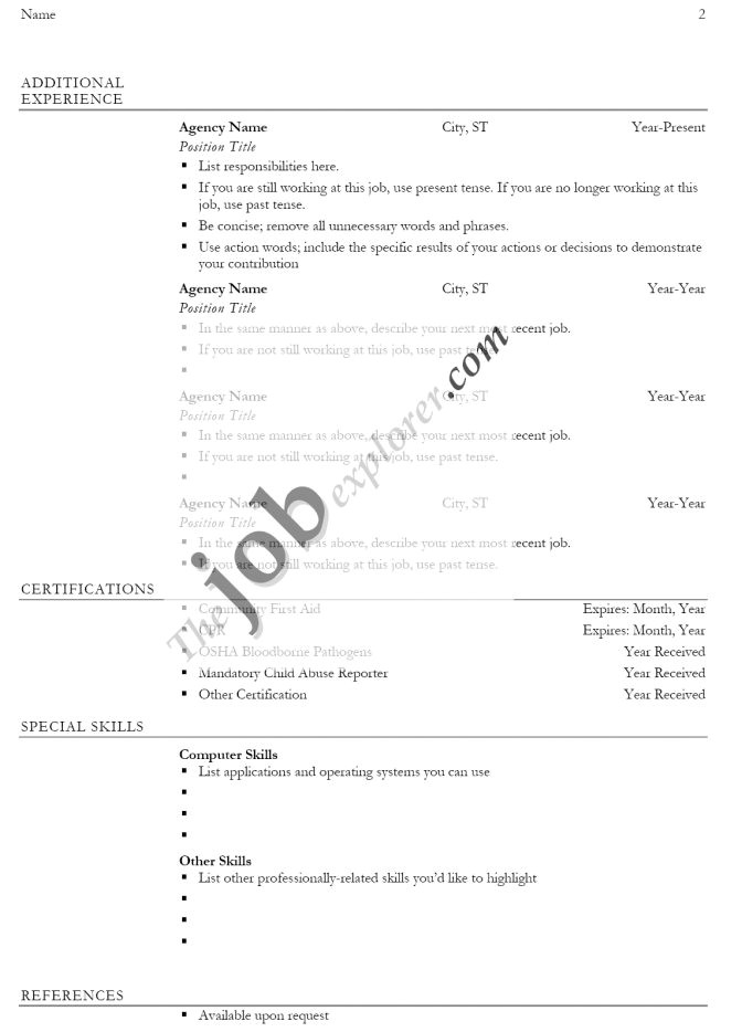 Free Job Specific Resume Templates Job Specific Resume Good Resume format