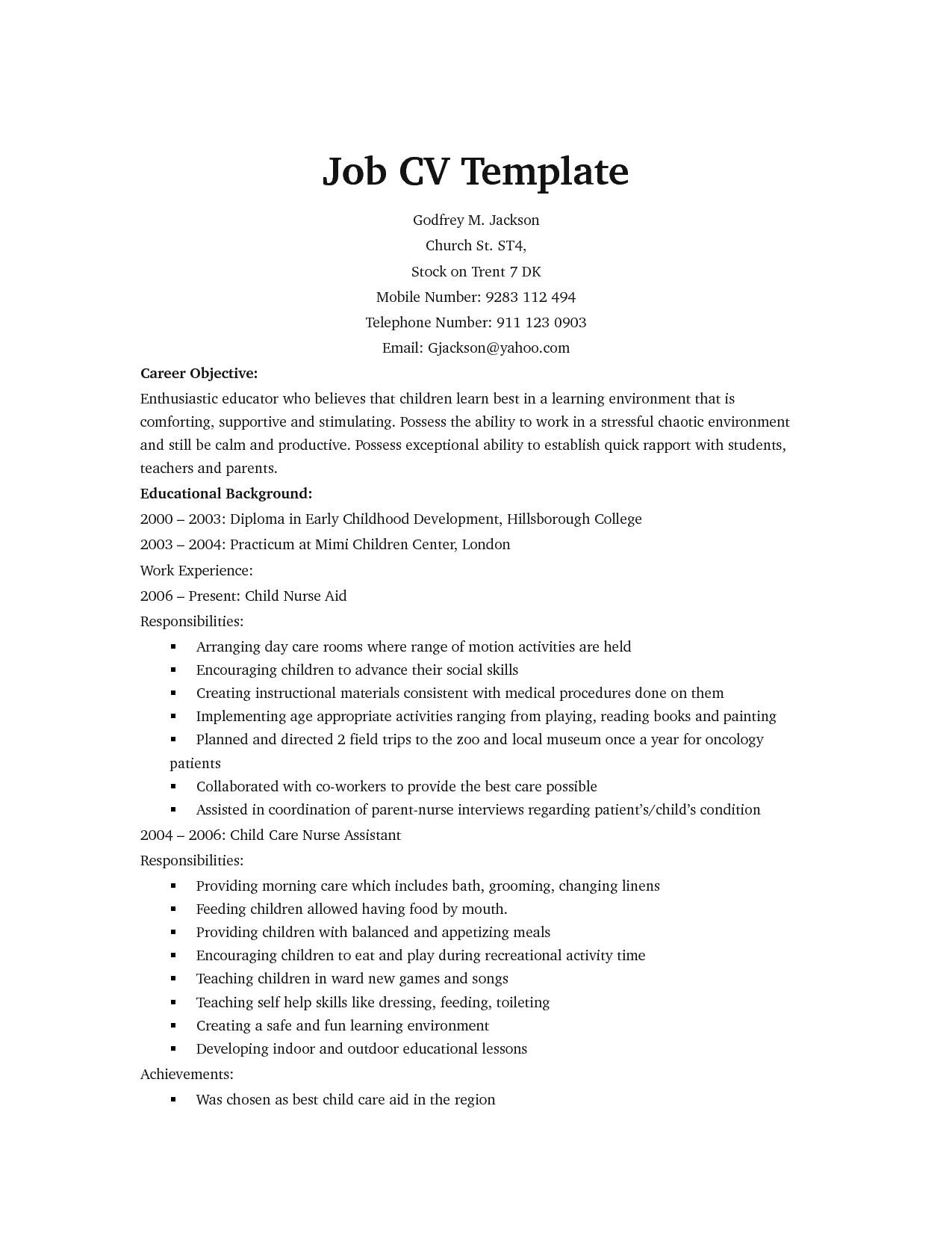 job specific resume templates