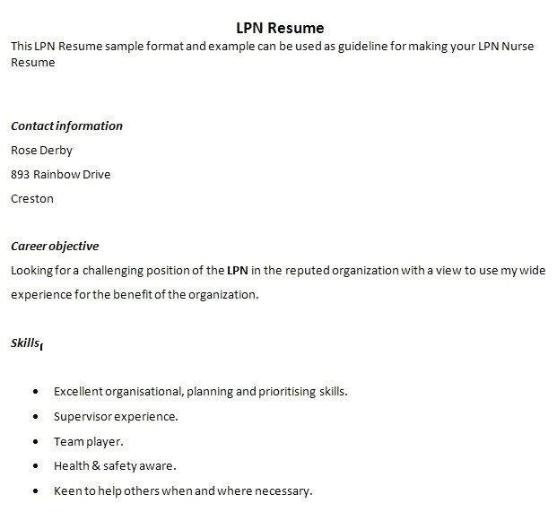 free lpn resume templates lvn template sample cv cover letter 11