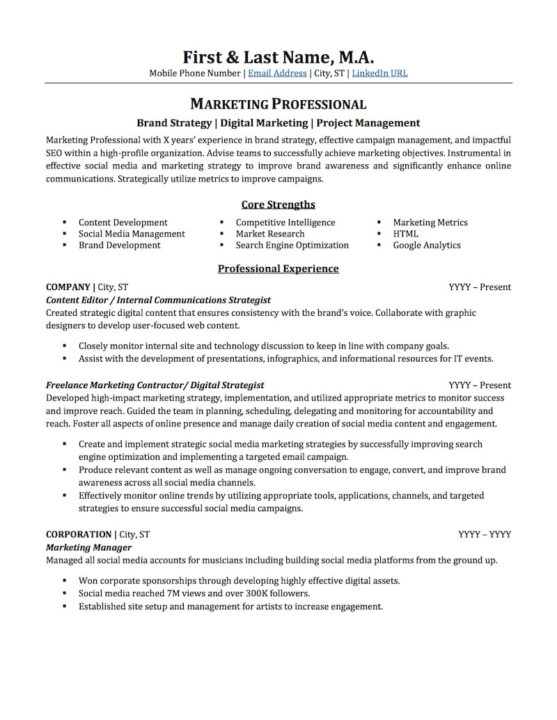 Free Marketing Resume Templates Advertising Marketing Resume Sample Professional