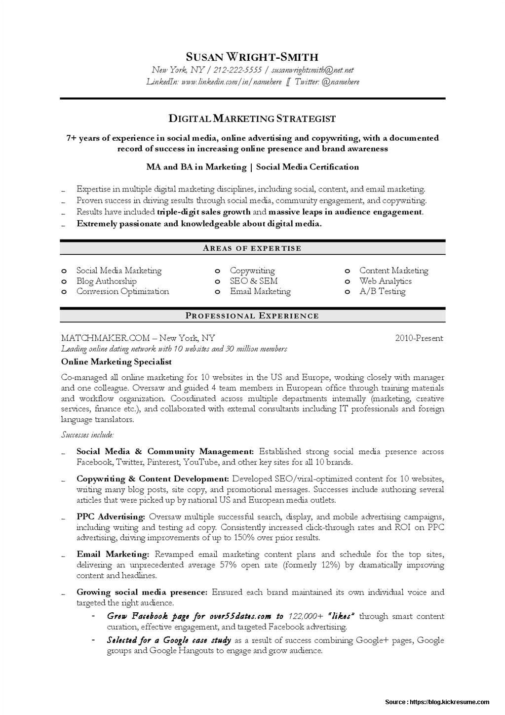 Free Marketing Resume Templates Digital Marketing Resume Sample Resume Resume Examples
