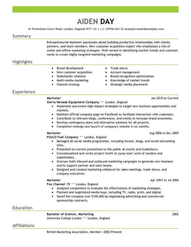 Free Marketing Resume Templates Marketing Resume Template